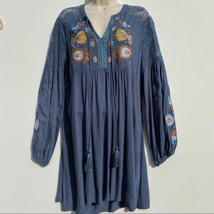 Umgee Long Puff Sleeve Peasant Dress A167